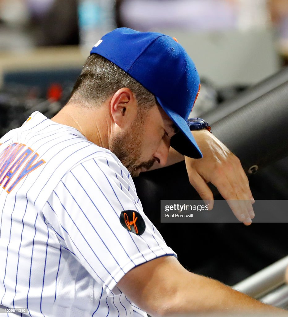 Manager Mickey Callaway #36 of the New York Mets reacts in the dugout late in an MLB baseball game against the San Diego Padres on July 23, 2018 at Citi Field in the Queens borough of New York City. Padres won 3-2.