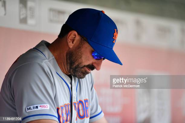 Manager Mickey Callaway of the New York Mets sits in the dugout before a game against the Washington Nationals at Nationals Park on March 30 2019 in...
