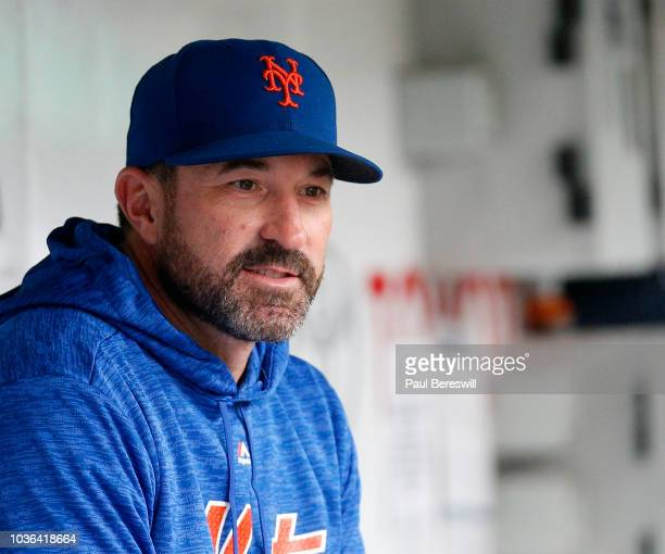 Manager Mickey Callaway of the New York Mets sits in the dugout prior to an MLB baseball game against the Philadelphia Phillies on September 9 2018...