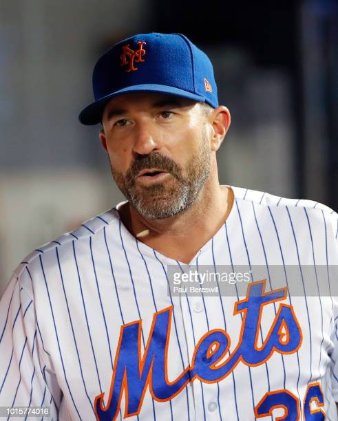 Manager Mickey Callaway of the New York Mets talks in an MLB baseball game against the Cincinnati Reds on August 6 2018 at Citi Field in the Queens...