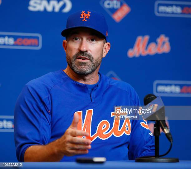 Manager Mickey Callaway of the New York Mets talks to the media during his pregame press conference before an MLB baseball game against the Atlanta...