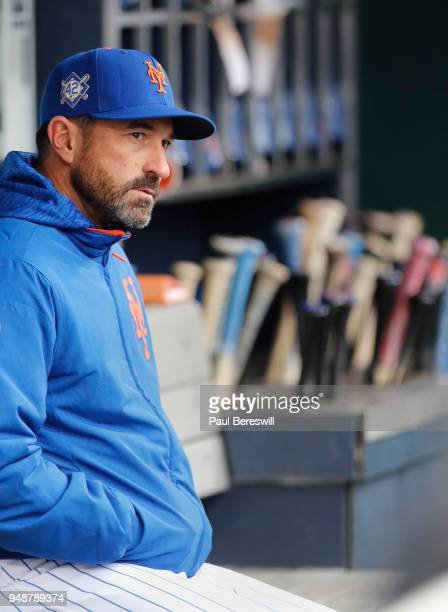 Manager Mickey Callaway of the New York Mets watches from the dugout during an MLB baseball game against the Milwaukee Brewers on April 15 2018 at...