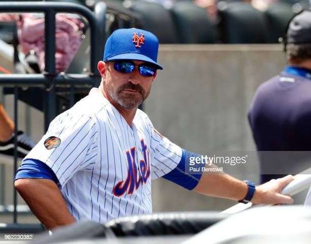 Manager Mickey Callaway of the New York Mets watches from the dugout during an MLB baseball game against the Arizona Diamondbacks on May 20 2018 at...