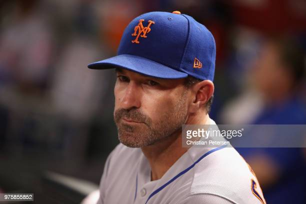 Manager Mickey Callaway of the New York Mets watches from the dugout during the MLB game against the Arizona Diamondbacks at Chase Field on June 15...