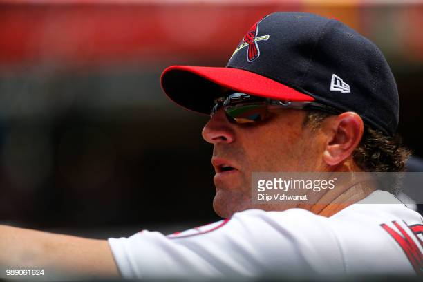 Manager Mike Matheny of the St Louis Cardinals looks on during a game between the St Louis Cardinals and the Atlanta Braves at Busch Stadium on July...