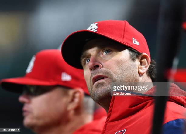 Manager Mike Matheny of the St Louis Cardinals looks on during the seventh inning against the Pittsburgh Pirates at PNC Park on April 28 2018 in...