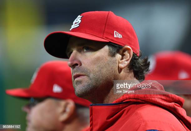 Manager Mike Matheny of the St Louis Cardinals looks on during the game against the Pittsburgh Pirates at PNC Park on April 28 2018 in Pittsburgh...