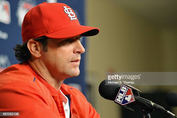 Manager Mike Matheny of the St Louis Cardinals speaks with the media after game one of the National League Division Series between the St Louis...