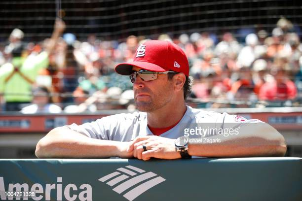 Manager Mike Matheny of the St Louis Cardinals stands in the dugout prior to the game against the San Francisco Giants at ATT Park on July 7 2018 in...
