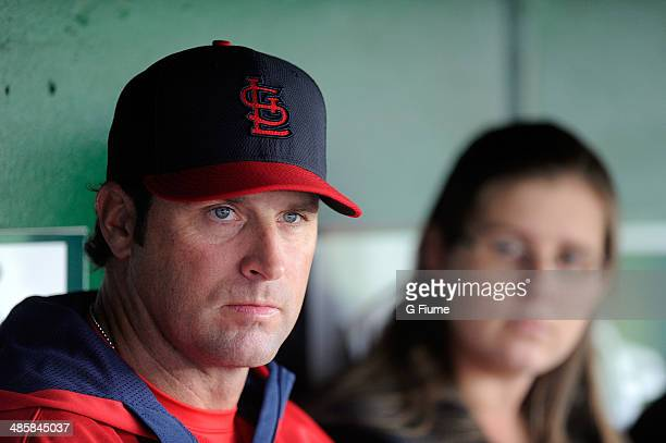 Manager Mike Matheny of the St Louis Cardinals talks to the media before the game against the Washington Nationals at Nationals Park on April 18 2014...