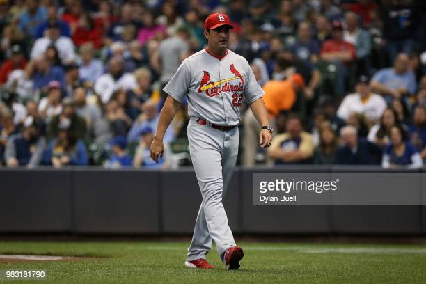 Manager Mike Matheny of the St Louis Cardinals walks to the dugout in the first inning against the Milwaukee Brewers at Miller Park on June 22 2018...