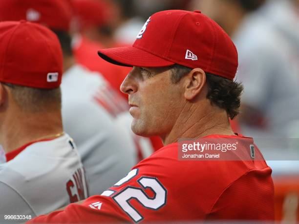 Manager Mike Matheny of the St Louis Cardinals watches as his team takes on the Chicago White Sox at Guaranteed Rate Field on July 11 2018 in Chicago...