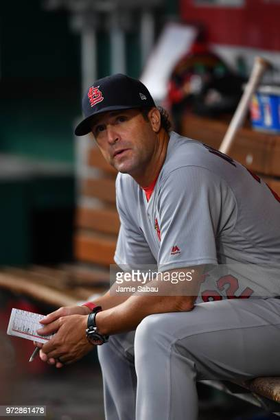 Manager Mike Matheny of the St Louis Cardinals watches his team play against the Cincinnati Reds at Great American Ball Park on June 8 2018 in...