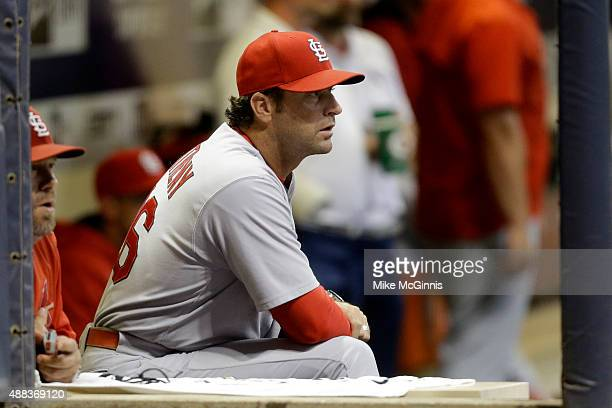 Manager Mike Matheny of the St Louis Cardinals watches the game from the dugout during the first inning against the Milwaukee Brewers at Miller Park...