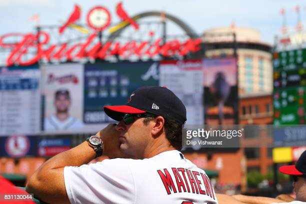 Manager Mike Matheny of the St Louis Cardinals watches the game against the Atlanta Braves in the eighth inning at Busch Stadium on August 13 2017 in...