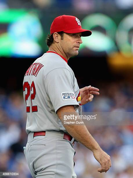 Manager Mike Matheny outfield the St Louis Cardinals calls for a new pitcher in the fifth inning of Game One of the National League Division Series...
