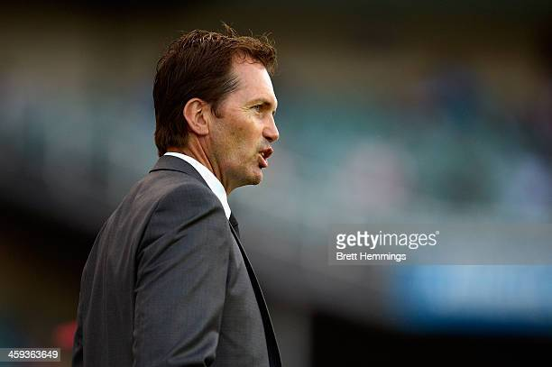 Manager Mike Mulvey of the Roar looks on during the round 12 ALeague match between Sydney FC and Brisbane Roar at Allianz Stadium on December 26 2013...