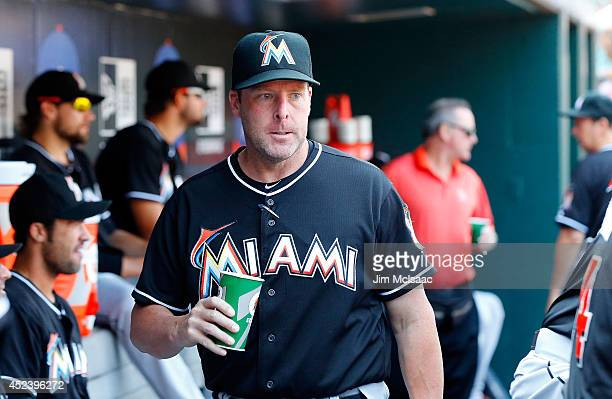 Manager Mike Redmond of the Miami Marlins looks on against the New York Mets at Citi Field on July 12 2014 in the Flushing neighborhood of the Queens...