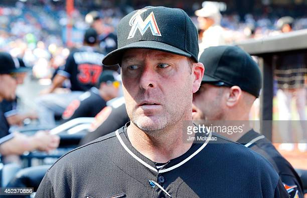 Manager Mike Redmond of the Miami Marlins looks on before a game against the New York Mets at Citi Field on July 12 2014 in the Flushing neighborhood...