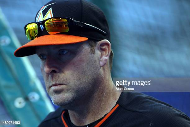Manager Mike Redmond of the Miami Marlins prepares his team play against the Colorado Rockies at Marlins Park on April 2 2014 in Miami Florida