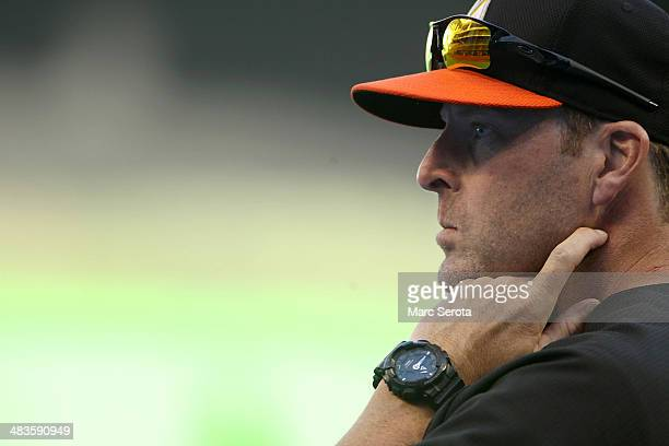 Manager Mike Redmond of the Miami Marlins prepares his team play against the Colorado Rockies at Marlins Park on April 2 2014 in Miami Florida The...