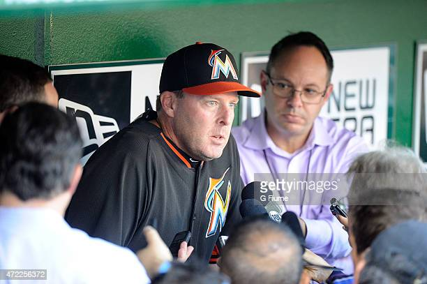 Manager Mike Redmond of the Miami Marlins talks to the media before the game against the Washington Nationals at Nationals Park on May 4 2015 in...