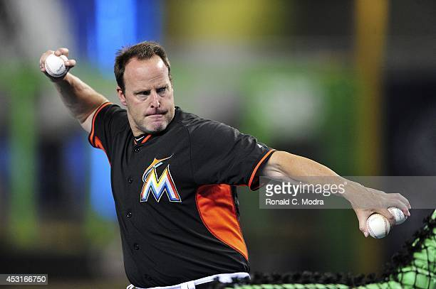 Manager Mike Redmond of the Miami Marlins throws batting practice before a MLB game against the Washington Nationals at Marlins Park on July 29 2014...