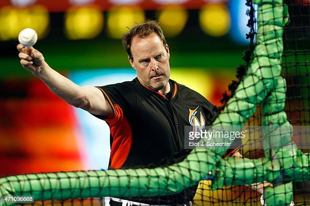 Manager Mike Redmond of the Miami Marlins throws during batting practice prior to the start of the game against the Washington Nationals at Marlins...
