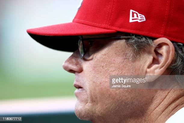Manager Mike Shildt of the St Louis Cardinals looks on from the dug out during the eighth inning of game two of the National League Championship...