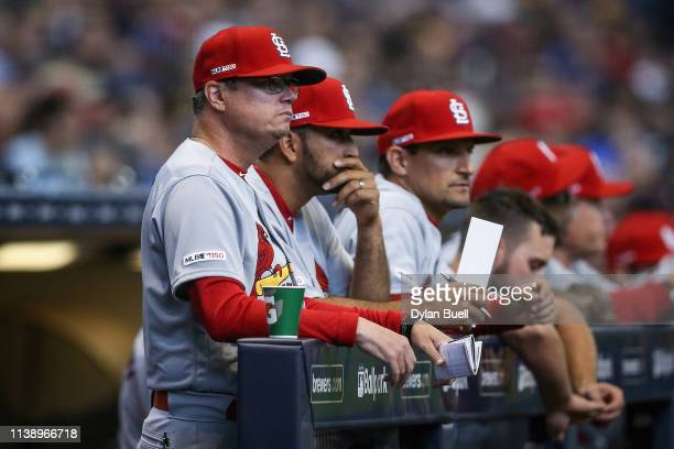 Manager Mike Shildt of the St Louis Cardinals looks on in the second inning against the Milwaukee Brewers during Opening Day at Miller Park on March...