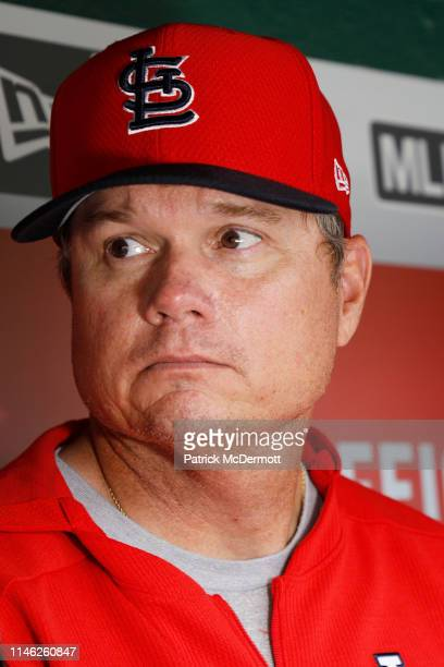 Manager Mike Shildt of the St Louis Cardinals talks to the media before a game against the Washington Nationals at Nationals Park on April 30 2019 in...