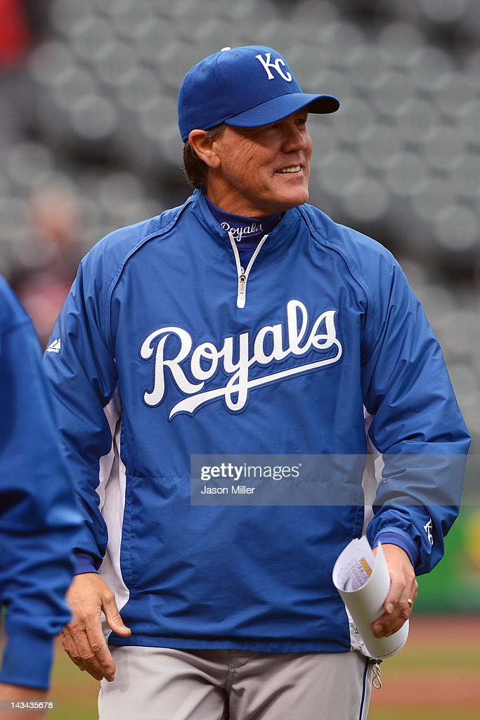 Manager Ned Yost #3 of the Kansas City Royals smiles after his team defeated the Cleveland Indians 4-2 at Progressive Field on April 26, 2012 in Cleveland, Ohio.