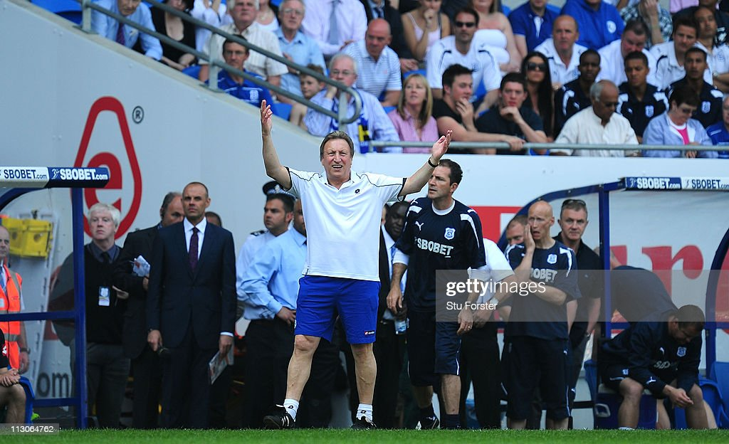 QPR manager Neil Warnock in action on the touchline during the npower Championship game between Cardiff City and Queens Park Rangers at Cardiff City Stadium on April 23, 2011 in Cardiff, Wales.