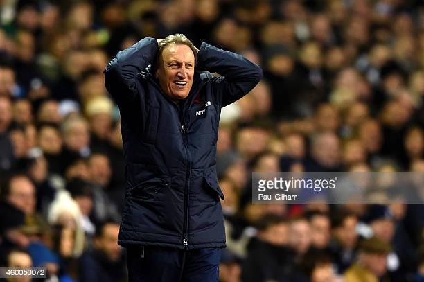 Manager Neil Warnock of Crystal Palace reacts on the touchline during the Barclays Premier League match between Tottenham Hotspur and Crystal Palace...