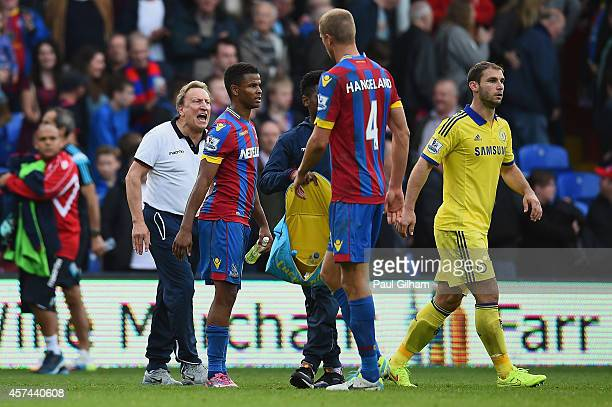 Manager Neil Warnock of Crystal Palace shouts to his players as they walk off at the end of the Barclays Premier League match between Crystal Palace...