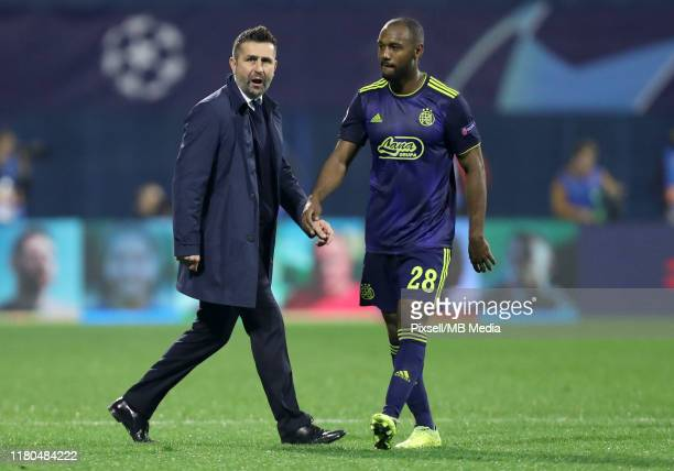 Manager Nenad Bjelica and Kevin Theophile Catherine of Dinamo Zagreb react after the UEFA Champions League group C match between Dinamo Zagreb and...