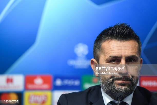 Manager Nenad Bjelica of Dinamo Zagreb attends a press conference after the UEFA Champions League group C match between Dinamo Zagreb and Shakhtar...