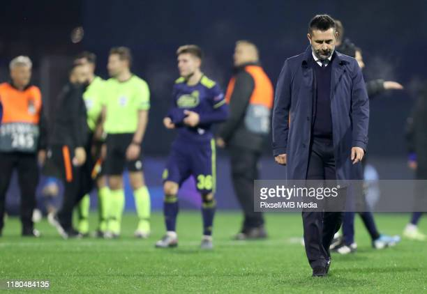 Manager Nenad Bjelica of Dinamo Zagreb leaves the pitch after a UEFA Champions League group C match between Dinamo Zagreb and Shakhtar Donetsk at...