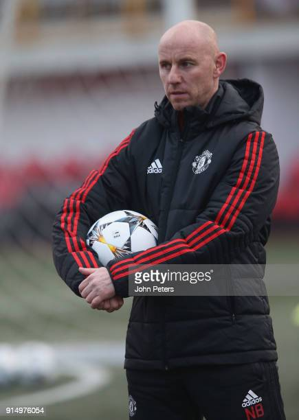 Manager Nicky Butt of Manchester United U19s in action during a training session at Vozdovac Stadium on February 6 2018 in Belgrade Serbia