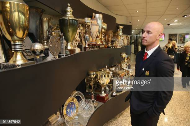 Manager Nicky Butt of Manchester United U19s vsitis the Partizan Belgrade museum in memory of the victims of the Munich Air Disaster on the 60th...
