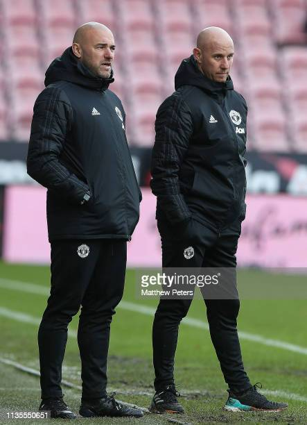 Manager Nicky Butt of Manchester United U19s watches from the touchline during the UEFA Youth League match between Midtjylland U19s and Manchester...
