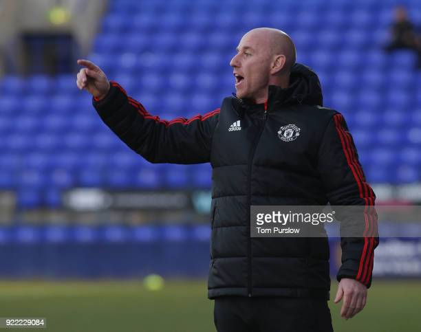 Manager Nicky Butt of Manchester United U19s watches from the touchline during the UEFA Youth League match between Manchester United U19s and...