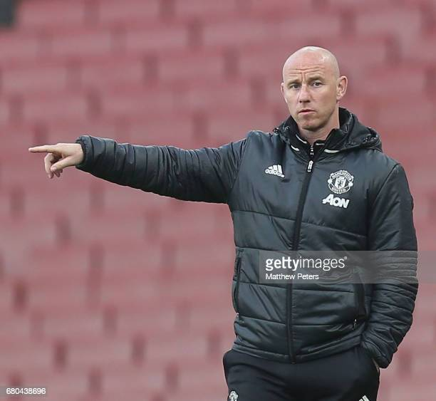 Manager Nicky Butt of Manchester United U23s watches from the touchline during the Premier League 2 match between Arsenal U23s and Manchester United...