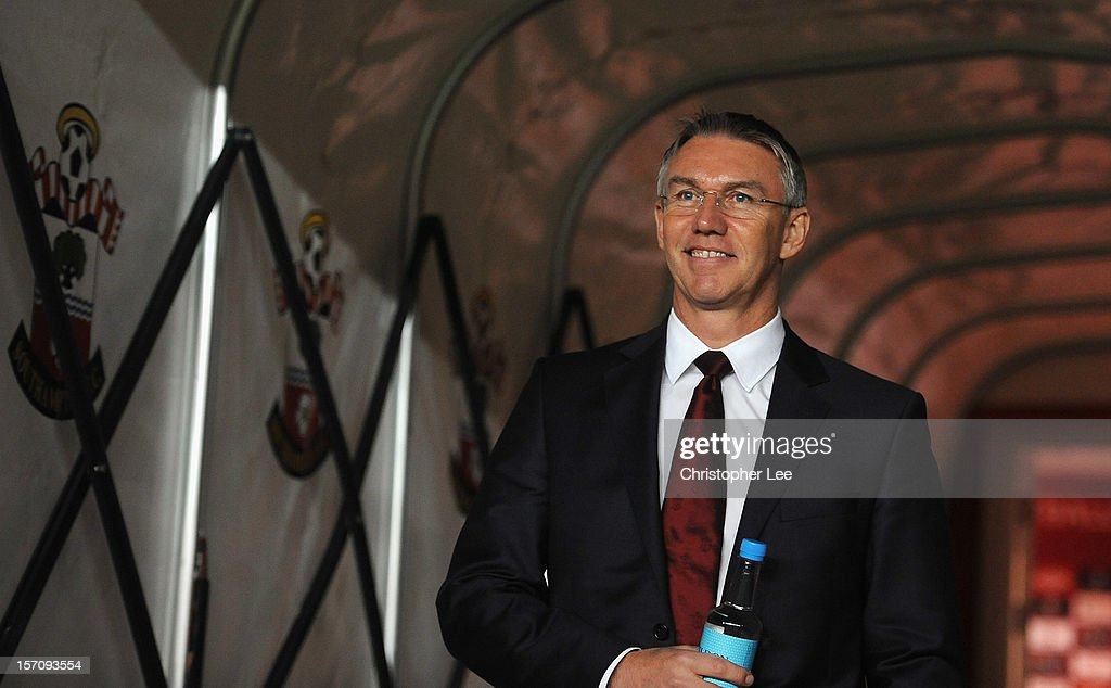 Manager Nigel Adkins of Southampton during the Barclays Premier League match between Southampton and Norwich City at St Mary's Stadium on November 28, 2012 in Southampton, England.