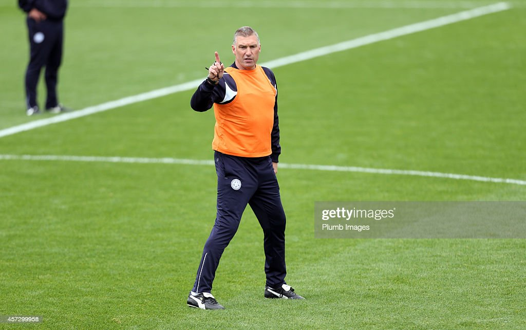 Manager Nigel Pearson during the Leicester City training session at Belvoir Drive Training Ground on October 16, 2014 in Leicester, England.