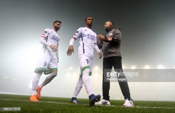 Manager Nigel Pearson of OH Leuven thanks Frederic Duplus and Esteban Casagolda of OH Leuven after the Proximus League match between OH Leuven and...