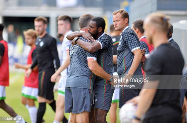 Manager Nigel Pearson of OH Leuven with goal keeper coach Boubacar Copa of OH Leuven after the Proximus League match between Royal Union...