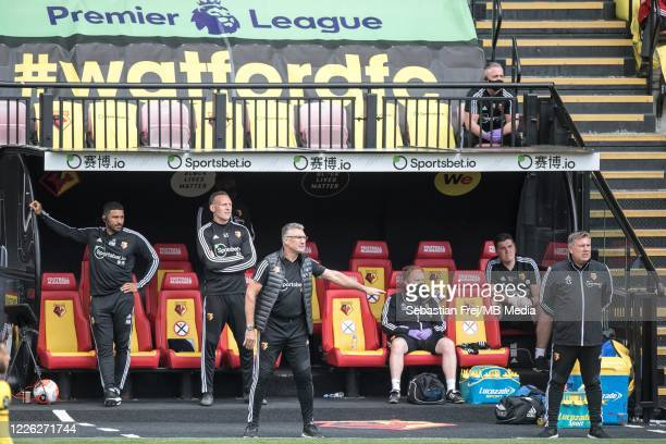 manager Nigel Pearson of Watford FC reacts during the Premier League match between Watford FC and Newcastle United at Vicarage Road on July 11 2020...