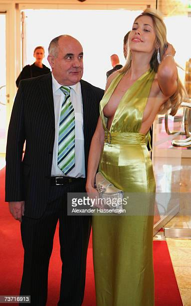 Manager Norbert Pflipppen arrives with model Geraldine Golz for the Herbert Award 2006 Gala at the Elysee Hotel on March 26 2007 in Hamburg Germany