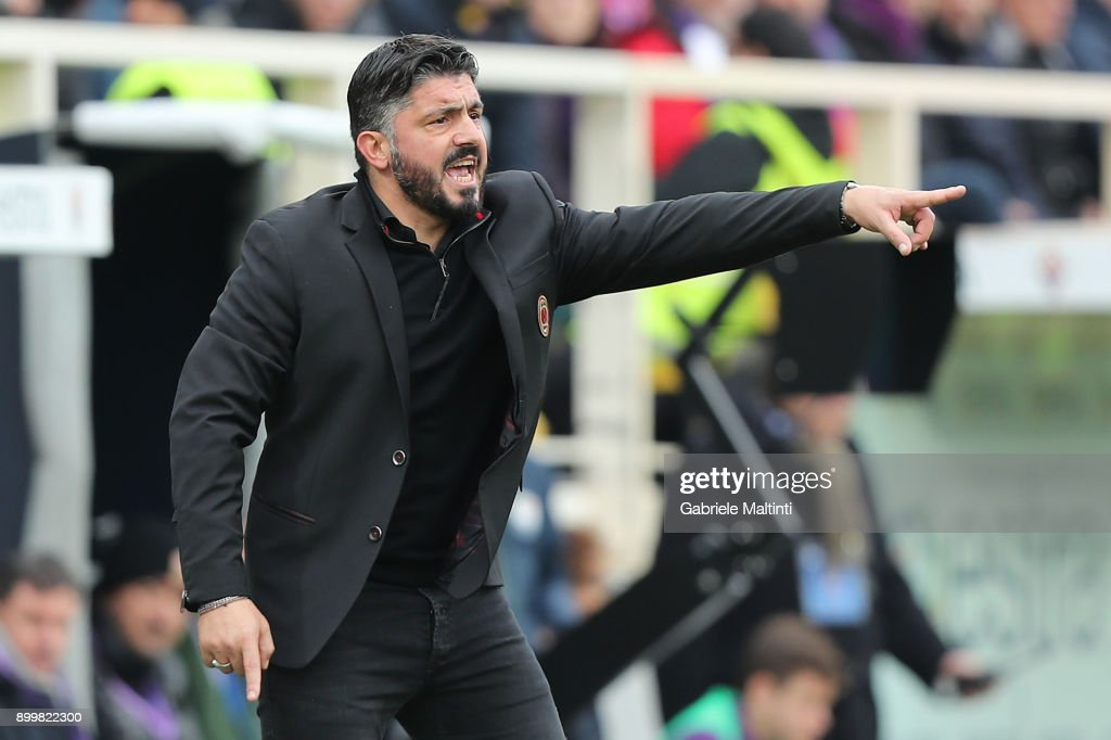 Manager of AC Milan Gennaro Gattuso gestures during the serie A match between ACF Fiorentina and AC Milan at Stadio Artemio Franchi on December 30, 2017 in Florence, Italy.